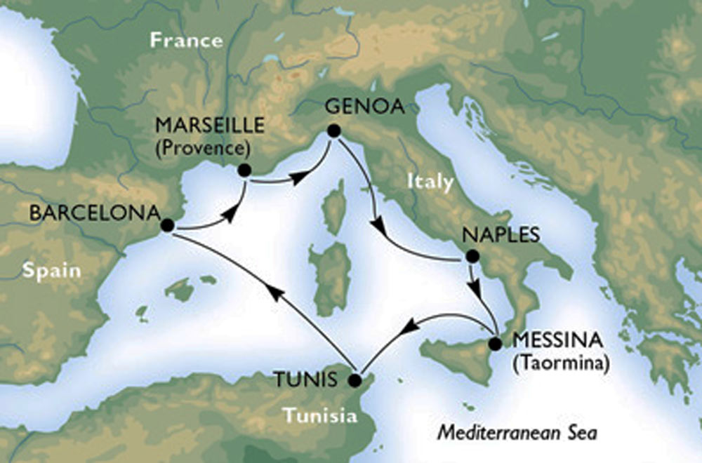 Meditteranean Cruise Map